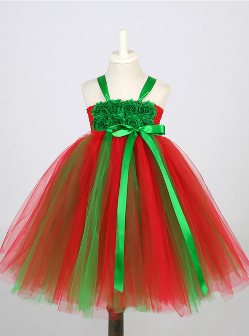 Christmas Dress Clothes Costume Baby Flower Tulle Party Dresses