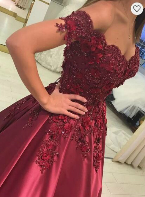 Off the Shoulder Satin Prom Dresses with Lace Flowers