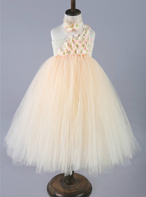 Champagne Girls Tulle Princess Dresses Single Shoulder Flower Girls Wedding Dress