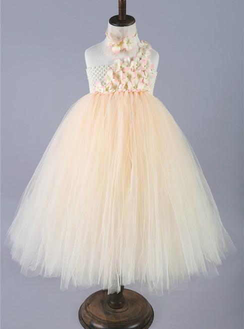 Champagne Girls Tulle Princess Dresses Single Shoulder Flower Girls Wedding Dress