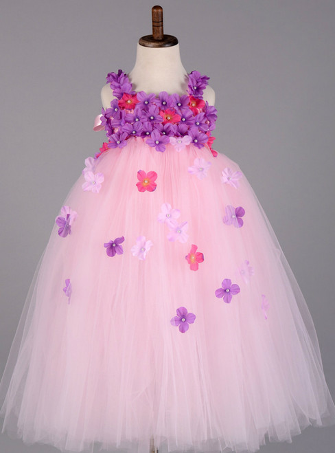 Girl Party Performance Tulle Tutu Dress Kids Pageant Ball Gown Wedding Flower Girl Dresses