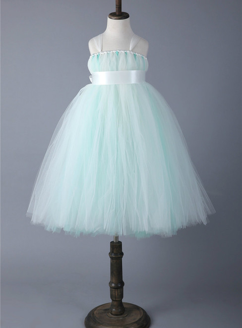 Mint Green Tulle Flower Girl Princess Dress For Kids Pageant