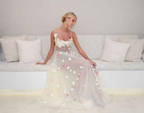 See Through Butterfly Flowers Prom Dresses