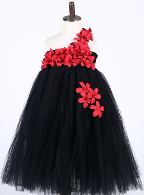 Princess Tulle Girl Dress Black Flower Dresses For Girls Wedding Birthday Party