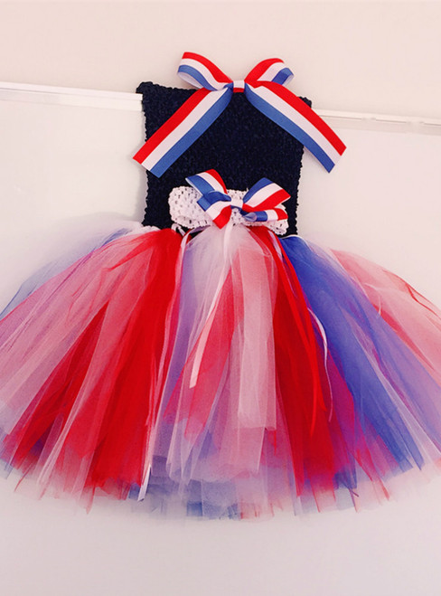 Memorial'S Day Girls Dress Princess  Clothes Baby Kids Festival Party Tulle Dresses