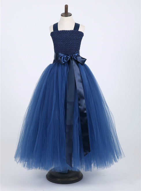 253a5ff5a Lace Tulle Flower Girl Ball Gown Children Kids Elegant Pink Navy ...