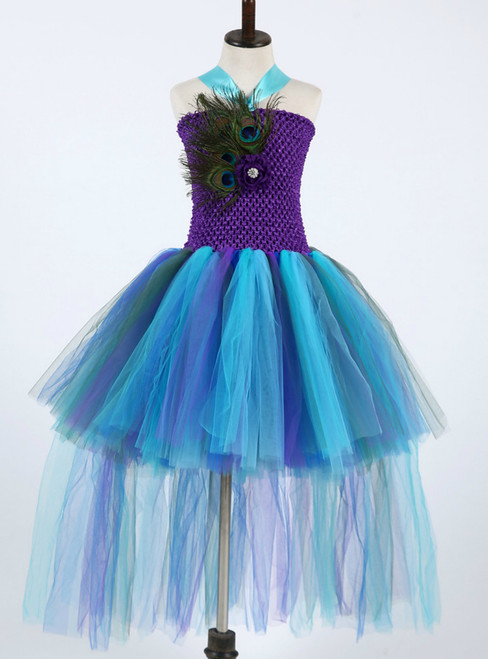 Children Kids Pageant Wedding Party Ball Gowns Trailing Feathers Tulle Flower Girl Dresses