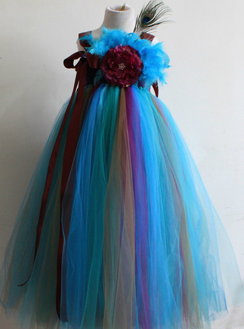 Tulle Dress Feather Flower Girl Kids Wedding Birthday Performing Party Dresses