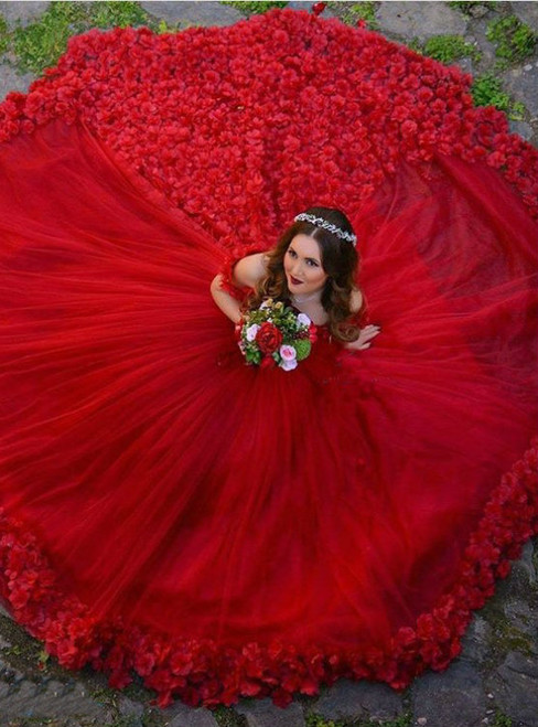 Red Ball Gown Off The Shoulder Sweep Train Tulle Pleated Bridal Dresses