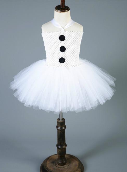 White Party Tutu Dress Snowman Tulle Princess Girl Dresses