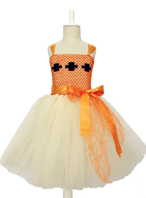 Beige Orange Girls Dress For Kids Birthday Party Girls Clothes Tulle Princess Dress