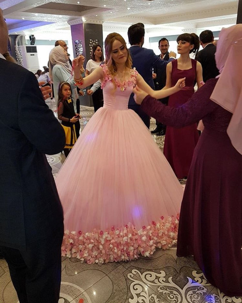 Court Train Pink Bridal Dresses Ball Gowns Prom Dresses