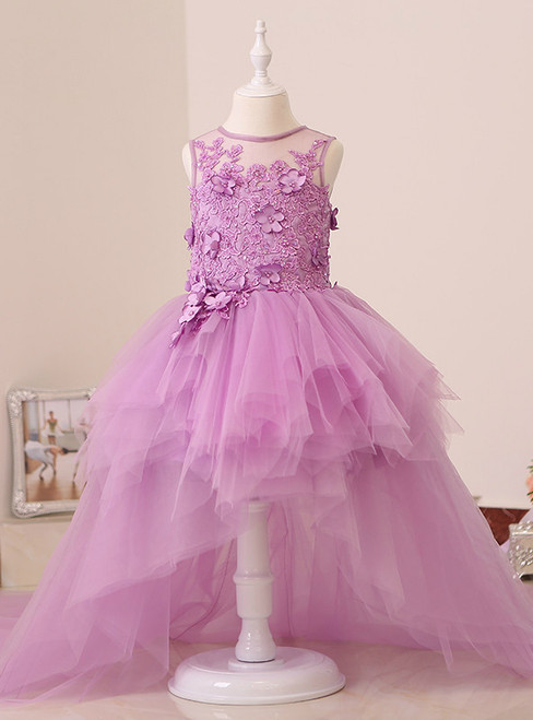 High Low Flower Girl Dresses Tulle Puff Girl Pageant Dresses Kids Evening Gowns