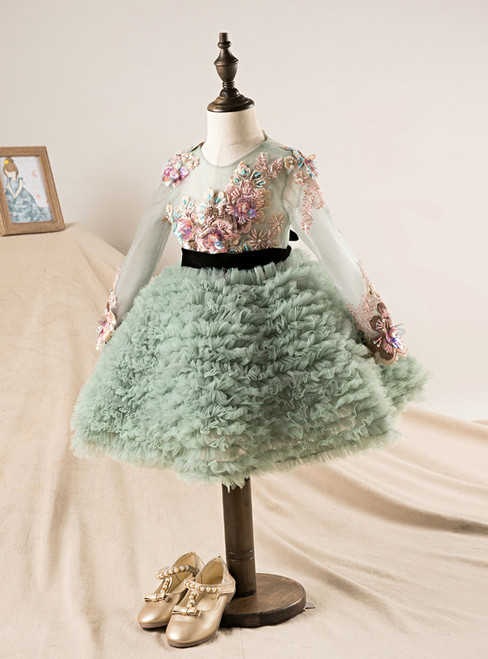Little Girls Lace embroidery Print Flowers Girl Dresses Sleeveless Pageant Dress