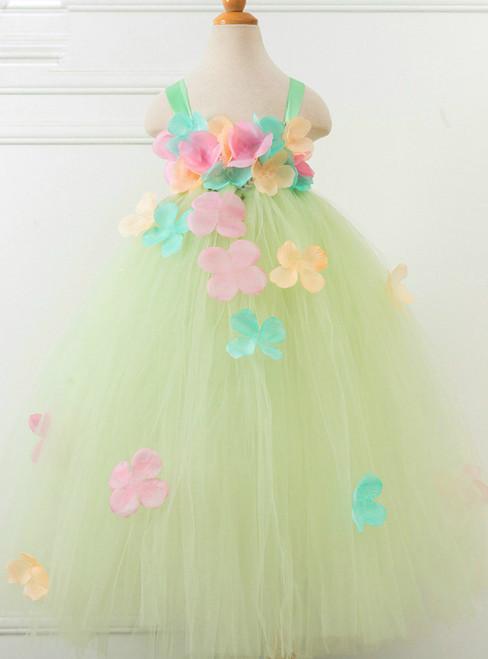 Flower Fairy Girls Handmade Tutu Dress For 2-12 Years Children Wedding Party Prom
