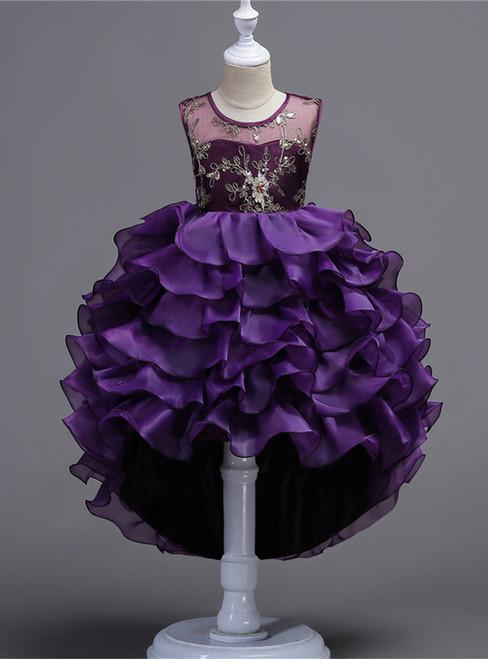 Applique Flower Girl Dress Hi-lo Wedding Birthday Party Dress