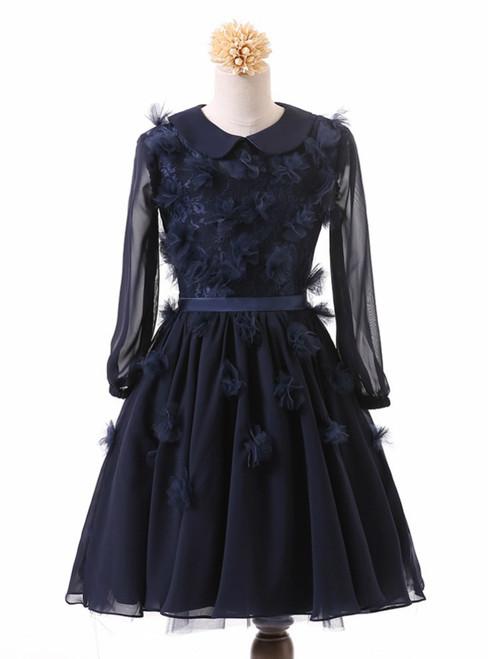 Long Sleeve Chiffon Flower Girl Dresses 2017 First Communion Birthday Dresses