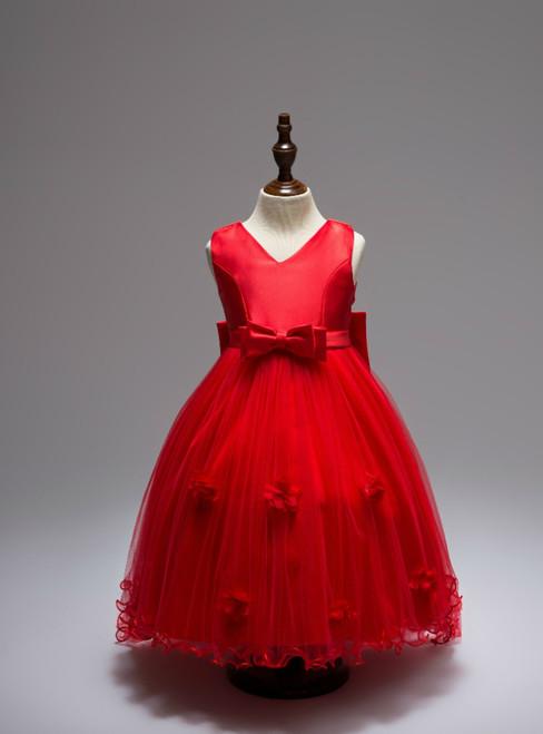 Appliques Princess Long Trailing Dress With Big Bow Ruffled Taffeta Girls V-Neck