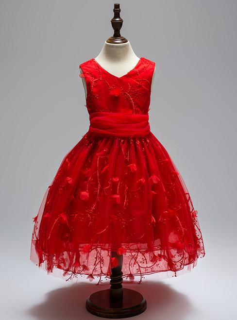 Elegant V-Neck Appliques Girls Summer Evening Party Trailing Dress Embroidery Flower Girls Dress