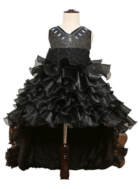 Black Organza Sleeveless O-Neck Bow Ball Gown Zipper Tiered Lace Sashes Princess