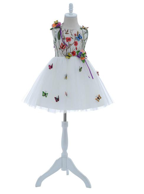 Short Cute White Flower Girls Dresses 2018 with Butterfly for Wedding Knee Length