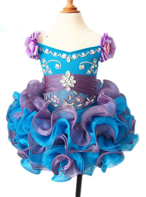 Cheap Ball Gown Cheap Puffy Organza Ruffles Kids Prom Gown Pageant Dresses for Girls