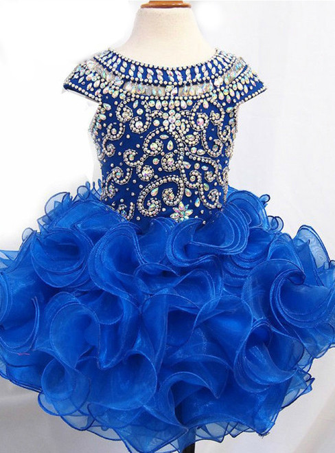 ll Gowns Royal Blue Ruffle Crystal Little Kids Prom Party Dresses for girl