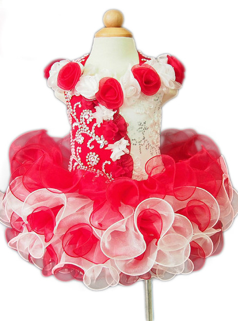 Ball Gown Beading Ruffles Organza Kids/Infant Prom Gown Little Flower Girl Dresses
