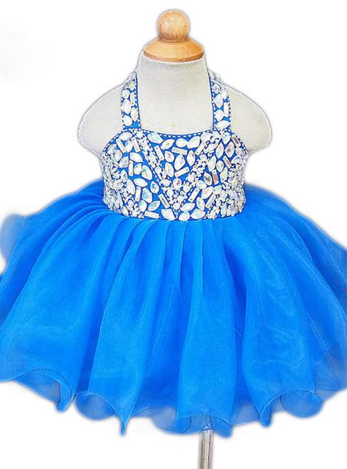 Royal Blue Littler Flower Girl Dresses 2017 Cheap Halter Neck Ruffles