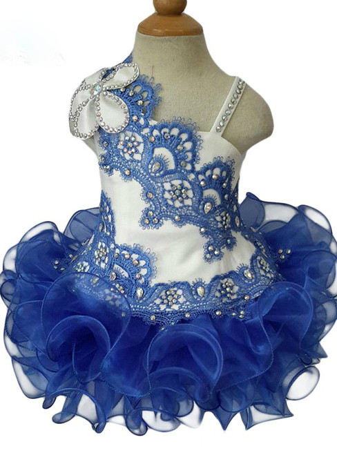 Ball Gowns Royal Blue Ruffle Crystal Little Kids Prom Party Dresses