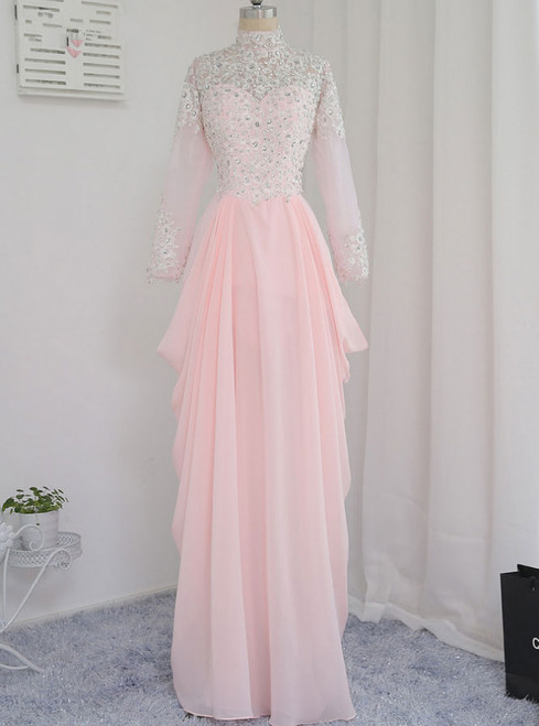 Long Sleeves Appliques Beaded Long Evening Gown Prom Dress