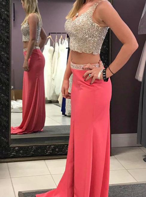 Sheath V-neck Two Piece For Teens Sleeveless Beaded Prom Dresses