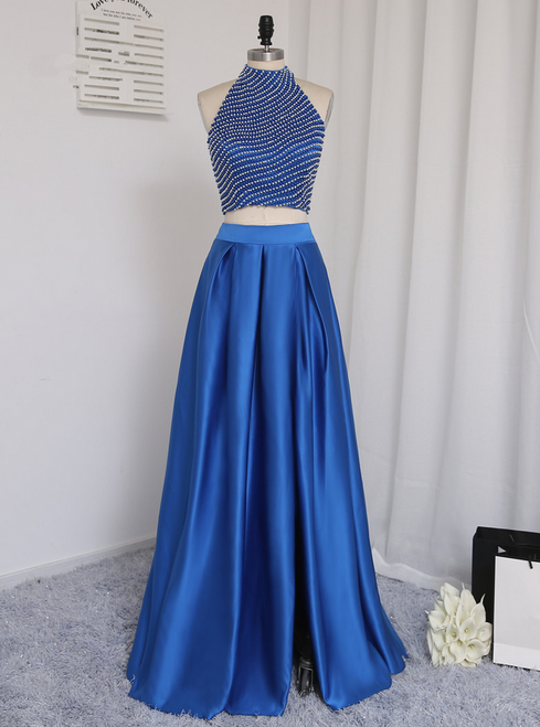 Floor Length Pearl Two Pieces Prom Gown Evening Dresses Evening Gown