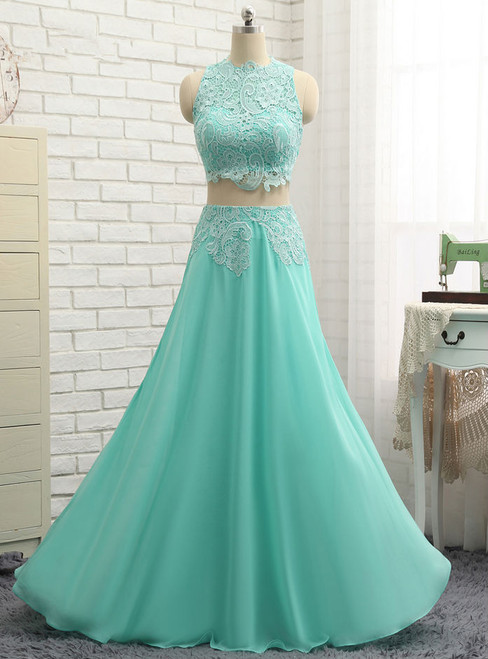 Chiffon Lace Two Pieces Long Prom Gown Evening Dresses Evening Gown