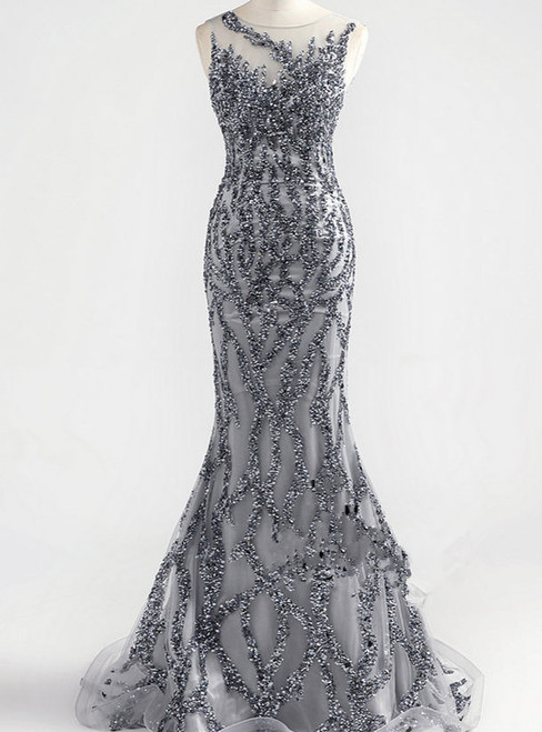 luxury gray crystal sexy mermaid formal party quality evening dress