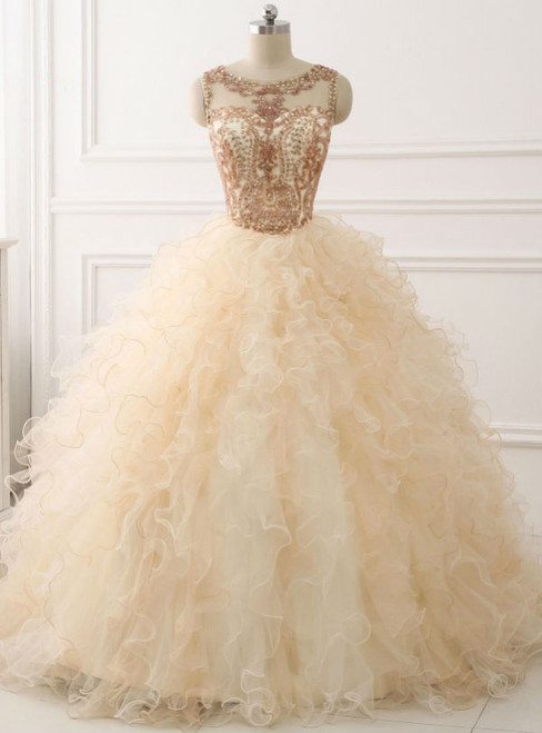 Ball Gown Beaded Long Sweet Years Party Gowns Ruffles Tulle Prom Dress