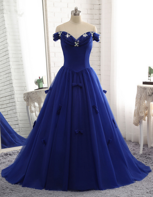 Royal Blue Prom Dress Luxury Tulle Beaded Bow Gown