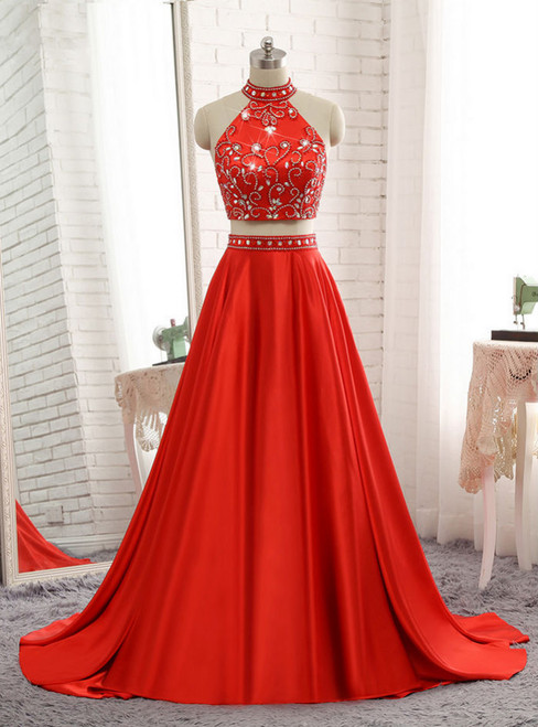 A-line Red Two Pieces Evening Dresses Soft Satin Prom Party Gown