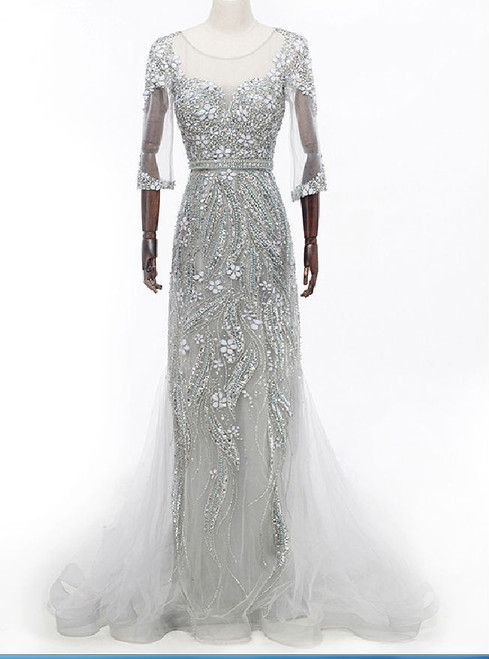 half sleeve mermaid evening gown grey crystal illusion dress evening gown
