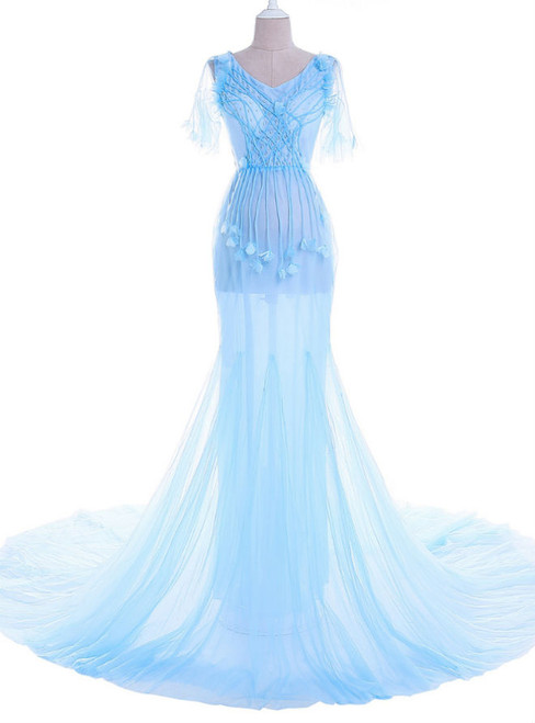 blue lace long slumber party for pregnant women veils mermaid dress