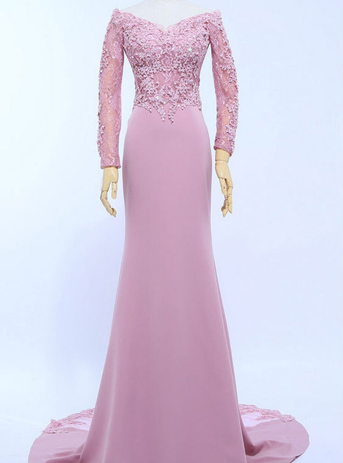 V-Neck Pink Long Sleeve Appliques Mermaid Evening Dresses