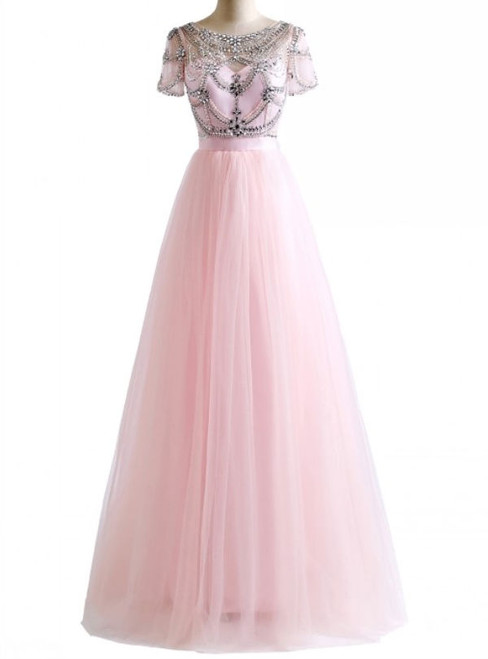 Crystal Beading Pink White Colors Tulle Sexy Backless Beach Prom Dresses