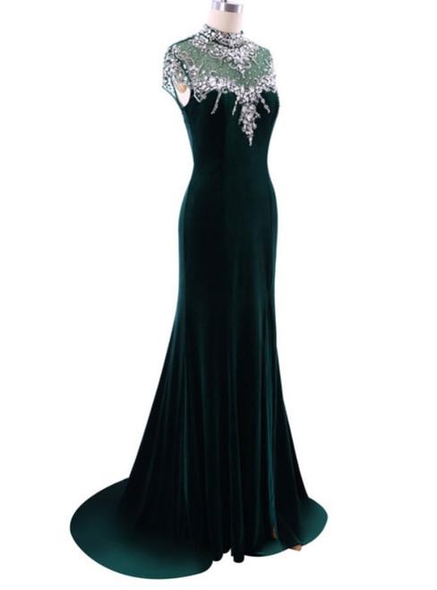 Elegant High Neck Prom Dresses Green Mermaid Evening Dress