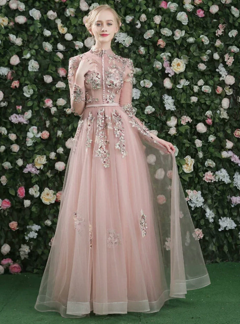 Pink High Neck Appliques Long Sleeve Backless Appliques Party Dress