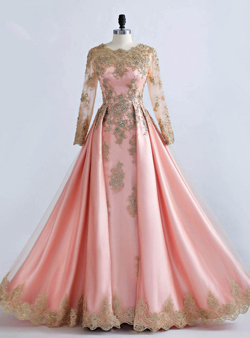Formally Gold Lace Appliques Pink Tulle Long Sleeve Prom Dresses