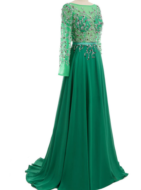 back crystal open long sleeve evening gown evening gown