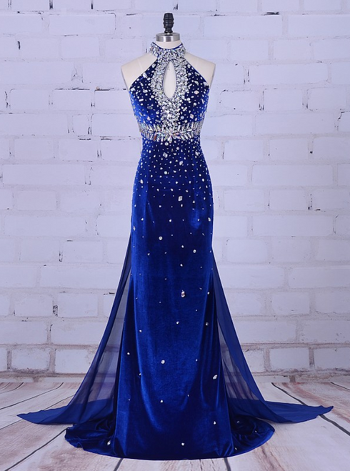 Velvet Prom Dresses High Neck Crystal For Formal Dress Women Wedding Party
