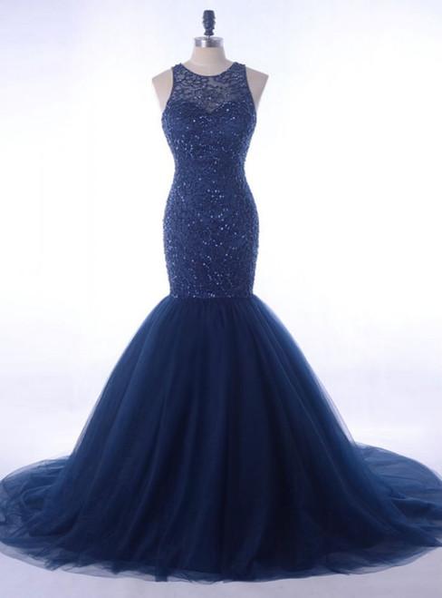 Luxury Rhinestone Evening Gown Beading Navy Blue  Women Formal Party Dress