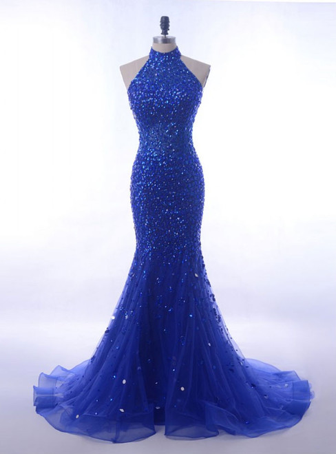 Long Royal Blue Mermaid Prom Dresses Halter For Formal Gowns
