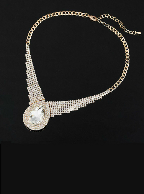 sexy selling dinner super large drop sparkling full rhinestone crystal necklace for women